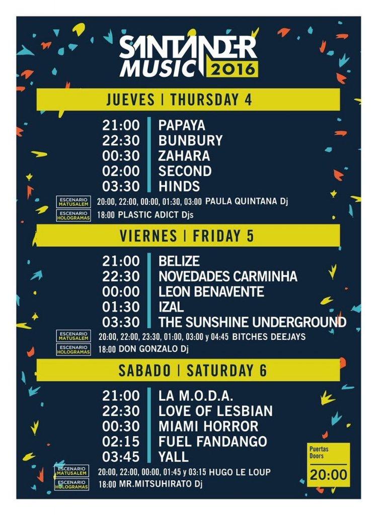 Horarios del @santandermusic Nos vemos a las 00:00!!