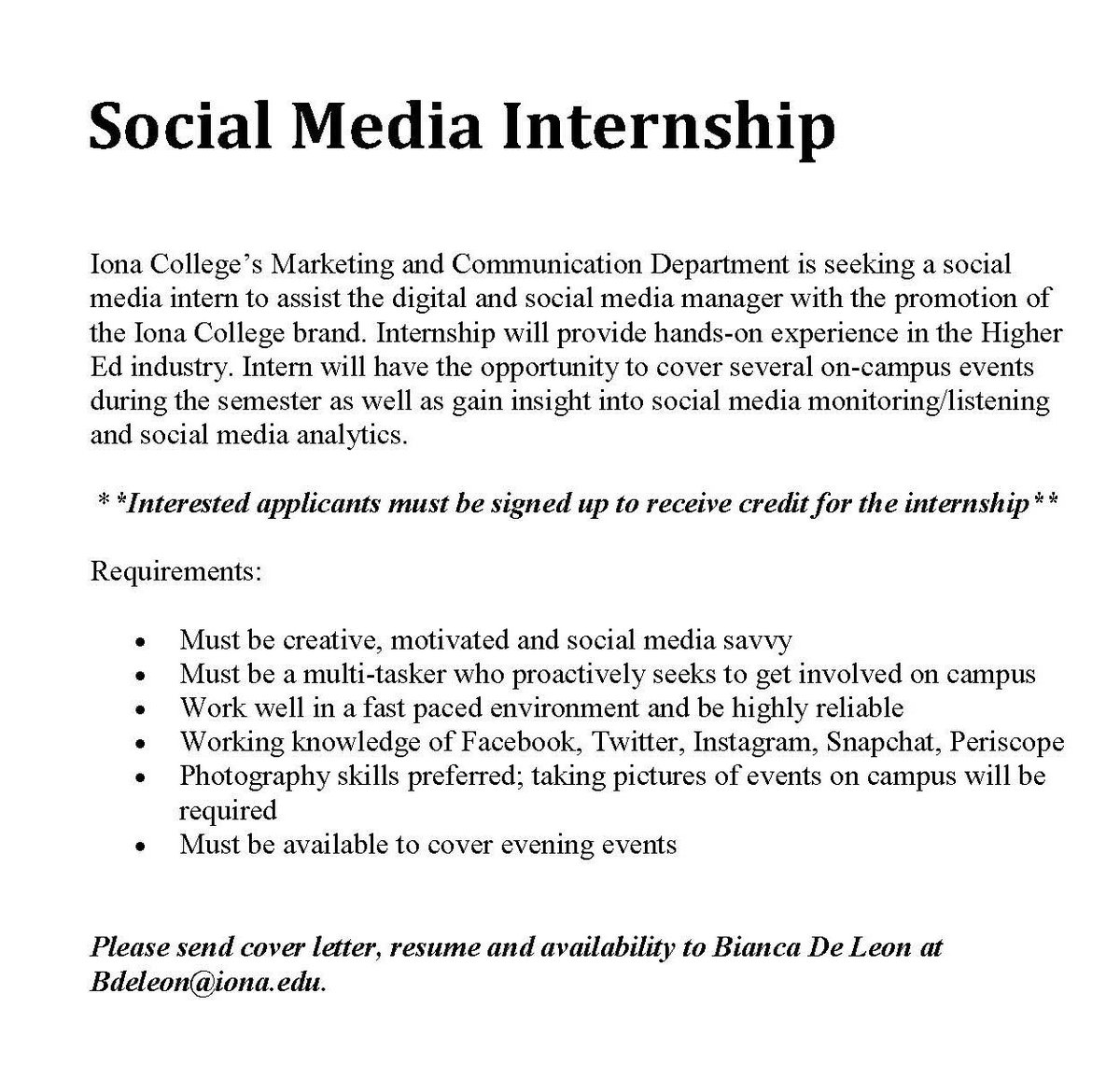 Iona college on twitter looking for a fall internship email iona college on twitter looking for a fall internship email resume and cover letter to bdeleoniona socialmedia internships madrichimfo Image collections