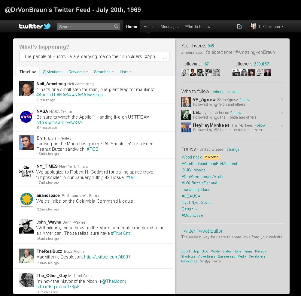 How Twitter might have looked when #Apollo11 landed on July 20th, 1969. https://t.co/H3ILcta1zL