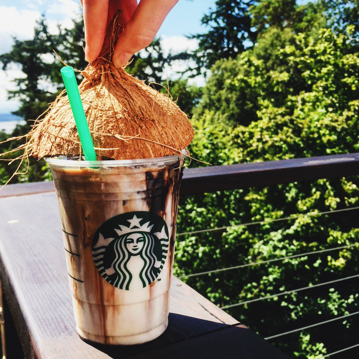 Coconut milk with espresso, topped with caramel & mocha drizzle. This. Is. Summer. #IcedCoconutMilkMochaMacchiato