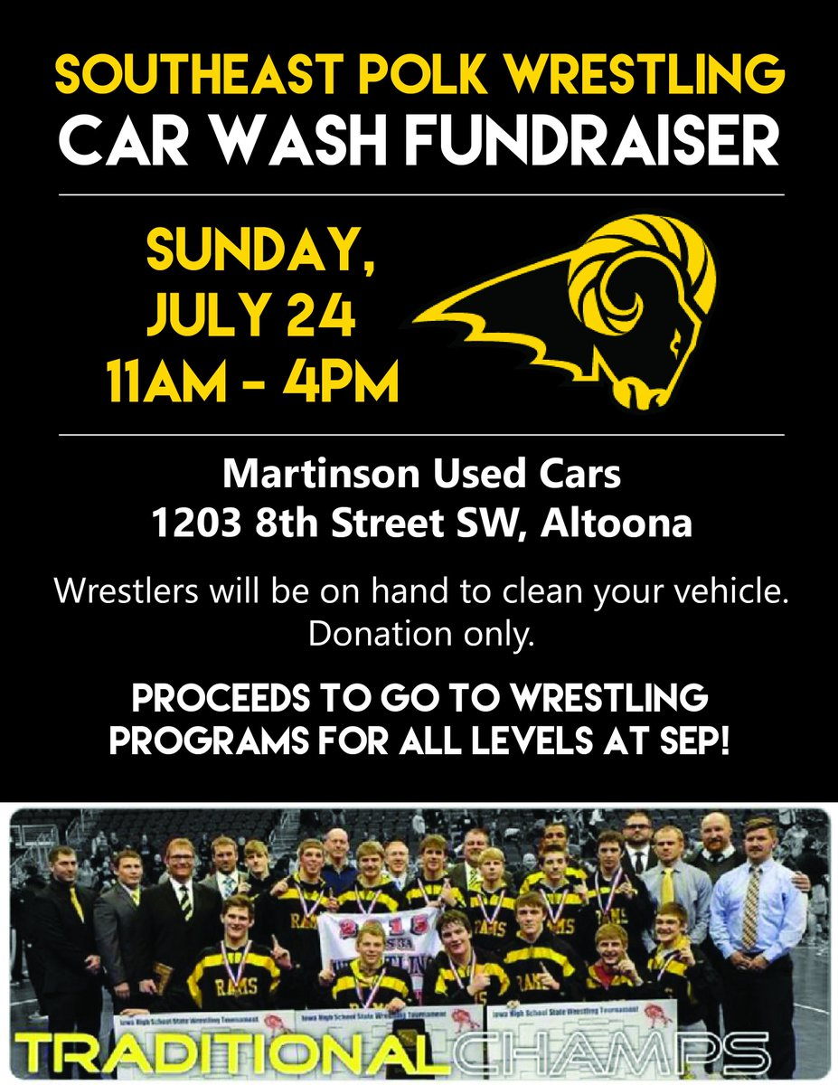 Support SE Polk wrestling this weekend at our car wash! https://t.co/Hr2jH1JP4O