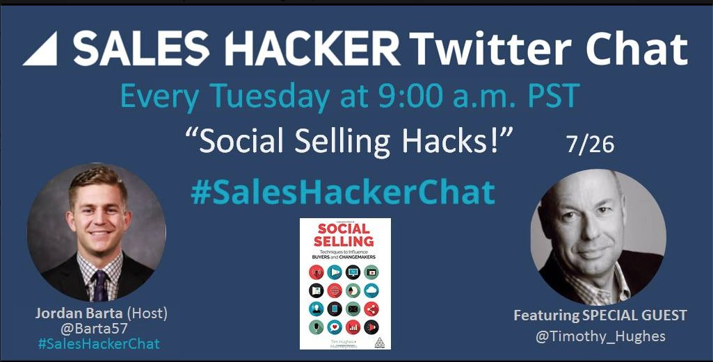 Join Me & @Barta57 Tues 26/7 at 17:00 For #SalesHackerChat To Talk #SocialSelling, my Book & #Salestips #marketing https://t.co/gsch0yMK3Q
