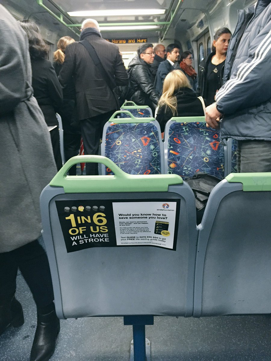 Started seeing @strokefdn #FAST advice on public transport, such as this one in @metrotrains. WELL DONE https://t.co/gzDVWtKZSK