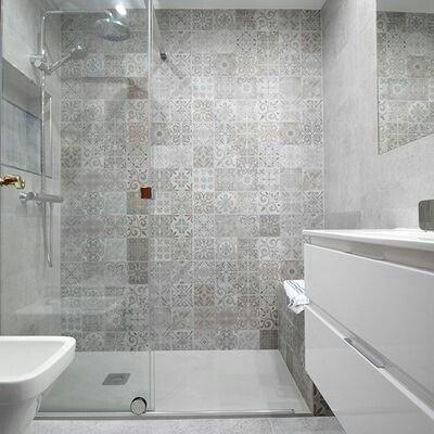 Tu ducha on twitter bonita ducha realizada con azulejos - Alicatados banos modernos ...