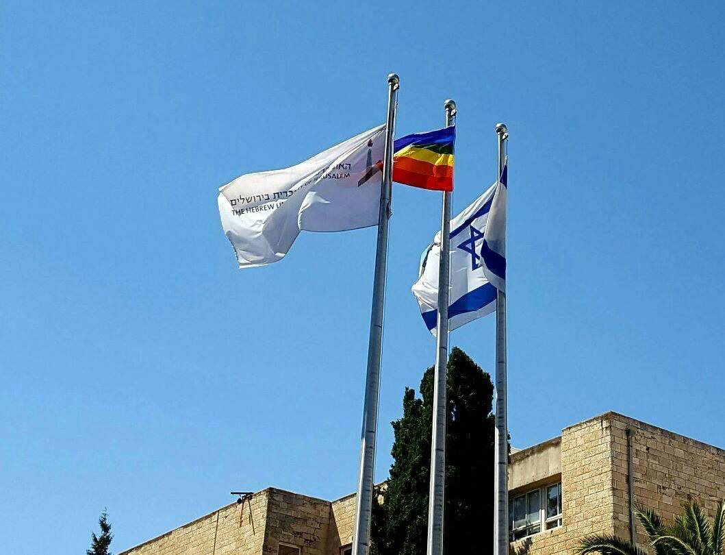 With #JerusalemPride Parade today, @HebrewU raises rainbow flag at #Jerusalem campuses https://t.co/VLBYBsrUAM https://t.co/06tqJzfGml