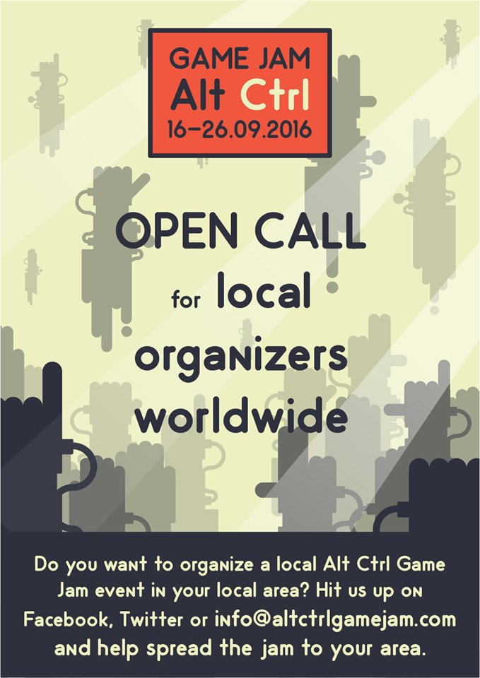Alt Ctrl Game Jam is coming up 16- 26 Sept 2016! Participate and/or organize 1 in your city: https://t.co/LylxBfCInF https://t.co/cDj9qSmlw2