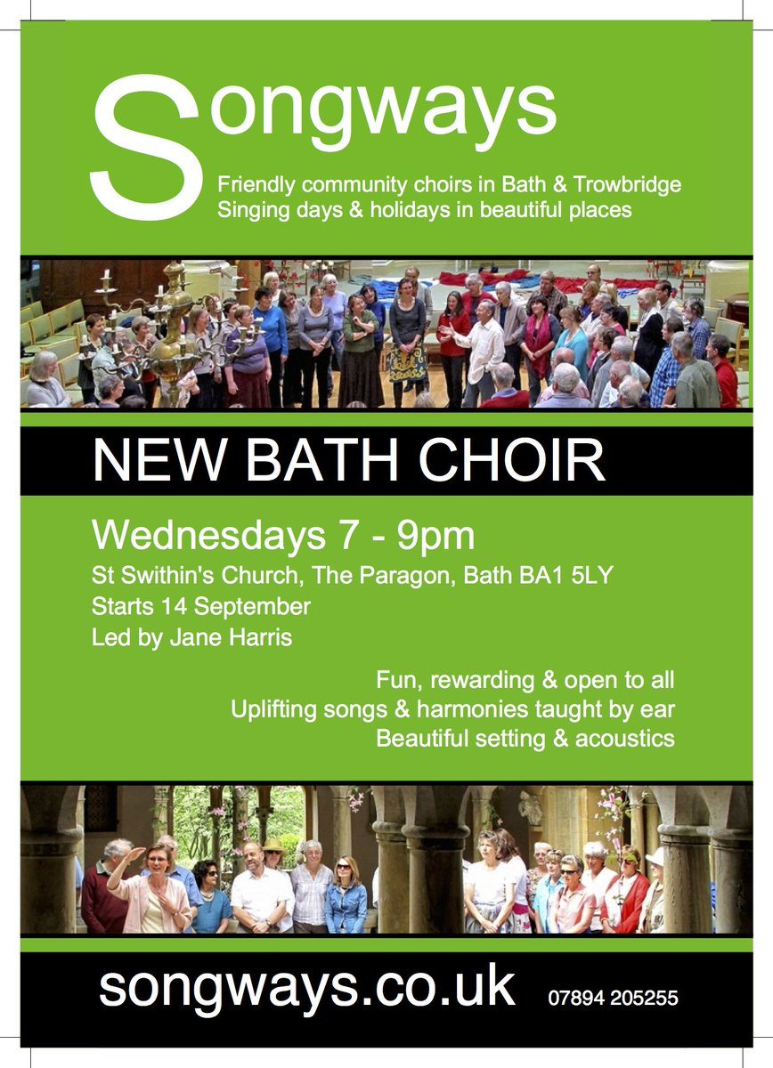 NEW BATH SONGWAYS CHOIR: fun, rewarding & open to all. Wednesdays 7-9pm. Register at https://t.co/P7aFH2wqJo
