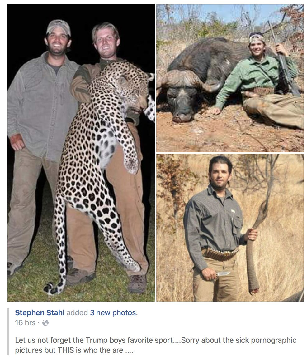Keep sharing these pictures of @DonaldJTrumpJr and @EricTrump so people know how vile these asshats are. https://t.co/6nHNdVy6pS