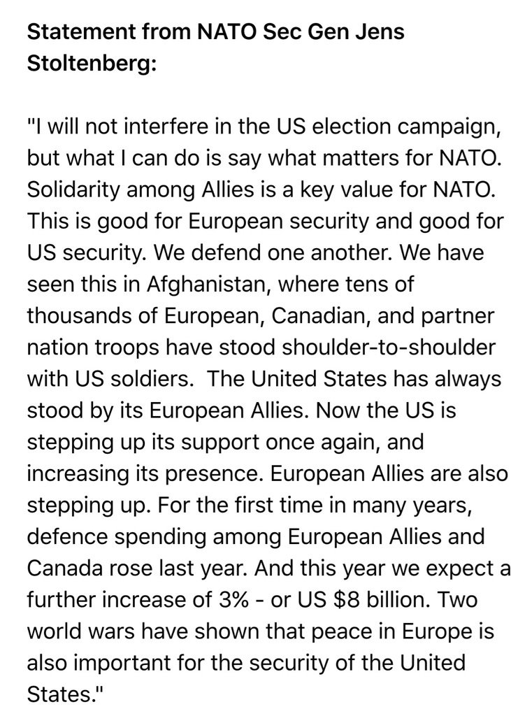 Jake Tapper On Twitter Statement From Nato Re Trump Comments