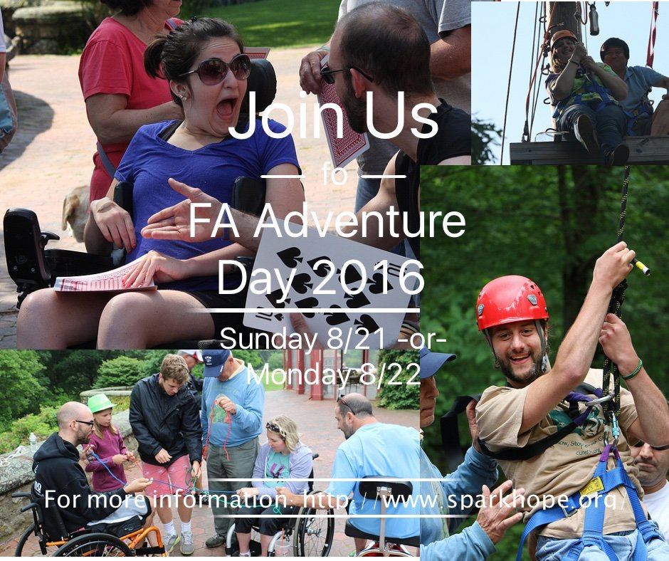 Have an #adventure ! FA Adventure Day is coming soon! #sparkhope #adventureday #curefa https://t.co/dnPuHxOLel