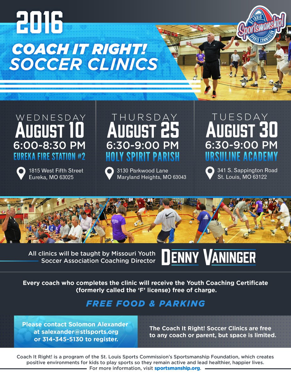 Stlsportscommission On Twitter Coachitright Soccer Clinic Dates