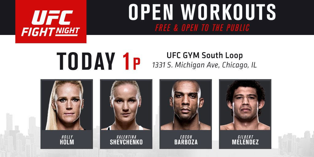 Good morning Fight Club! Hope to see you at the #UFCChicago open workouts today! https://t.co/WsGkH9UJfh