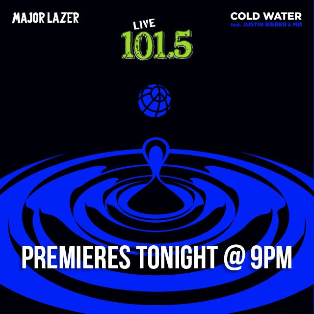Listen tonight at 9pm! @DJDECiPHA will be premiering new @MAJORLAZER ft. @justinbieber 'Cold Water'! https://t.co/WB1yYBoKvf