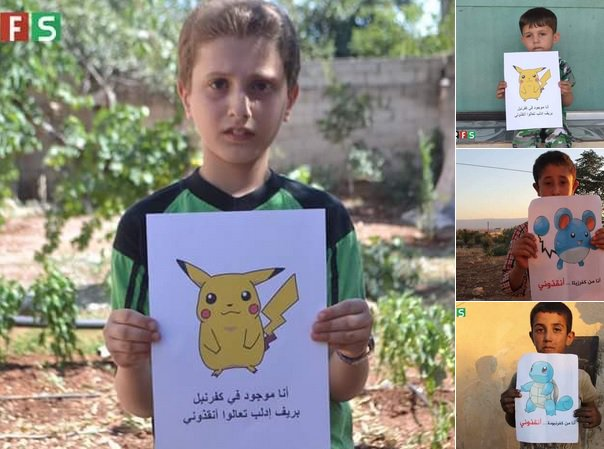IMAGE: Syrian children in besieged areas hold images of Pokemon characters, hoping world will 'find them'