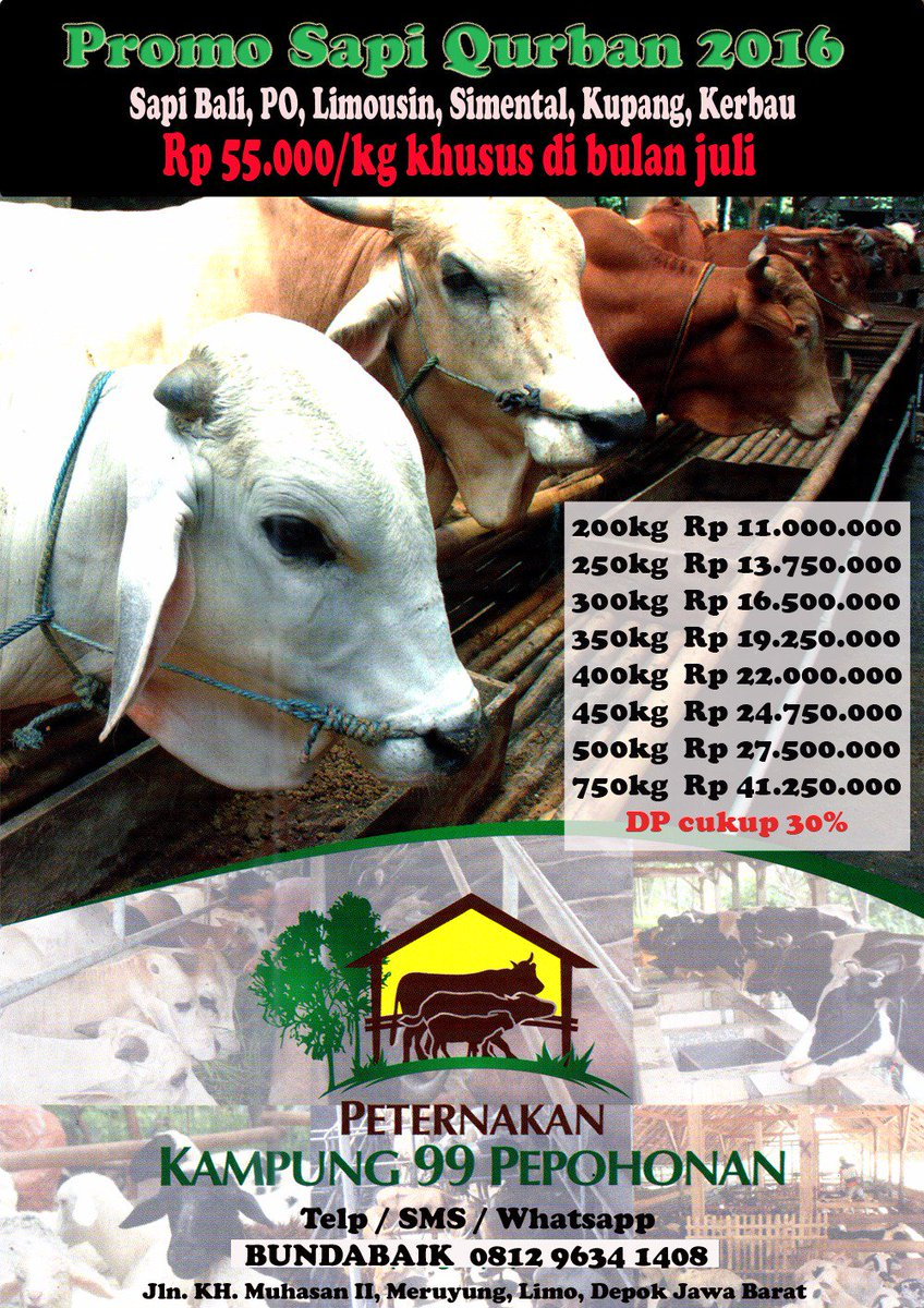 Ini info harga hewan qurbannya gaes ... monggo loh .. Agustus harganya udah naik lagi .. https://t.co/pCybbUKgu0