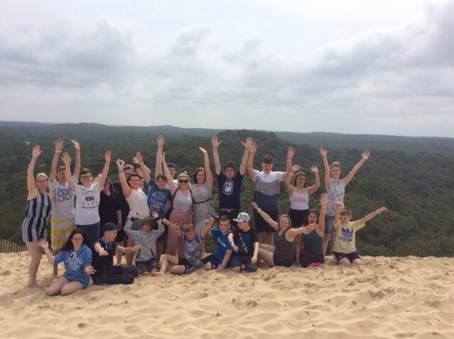 France Trip - Top of the sand dunes! Hurray for @SmeatonAcademy!!