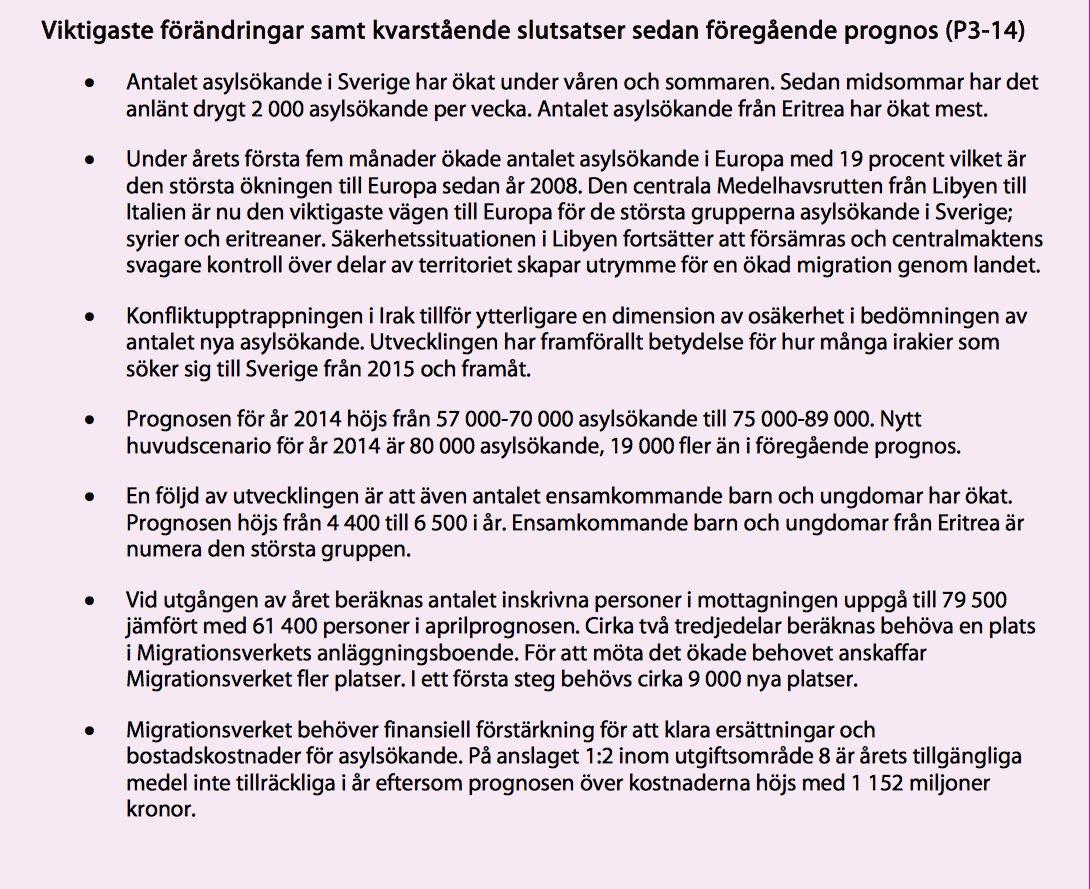 """Så här såg Migverkets prognos ut 2014-07-24, alltså direkt innan Reinfeldt höll sitt """"Öppna era hjärtan"""" tal"""