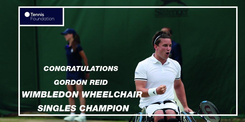 Congratulations @GordonReid91! First ever #Wimbledon Wheelchair Singles champion #WimbledonFinals #BackTheBrits https://t.co/c4f6VCWGnD