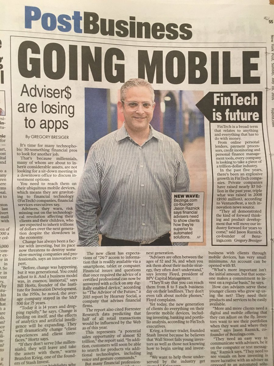 Wow! I never saw the article in the @nypost. Full page front page of biz section. https://t.co/zsQ9y9jKyT