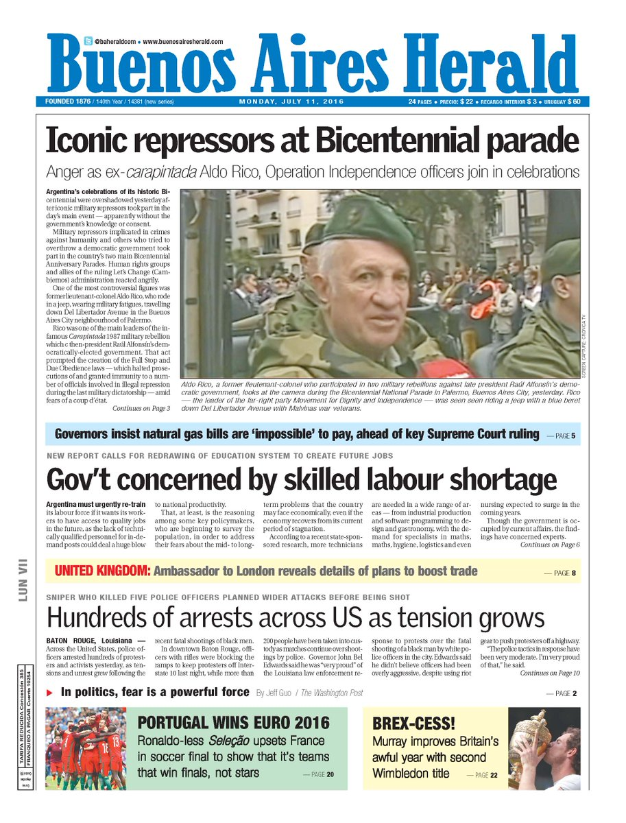 Herald front page / Tapa del BAH Monday, July 11, 2016 https://t.co/exfr2bZo9t https://t.co/oV2j2PddXm