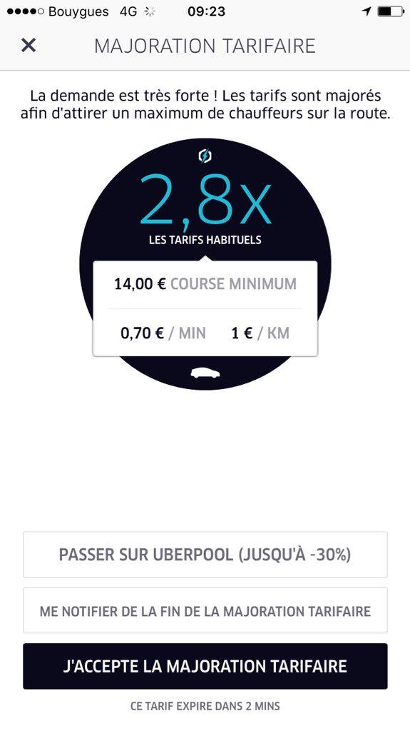 @UberFR c'est la fête aux majorations depuis début juillet. Cette dose d'imprévu au service n'est pas très agréable https://t.co/5xa4ZSX9gN