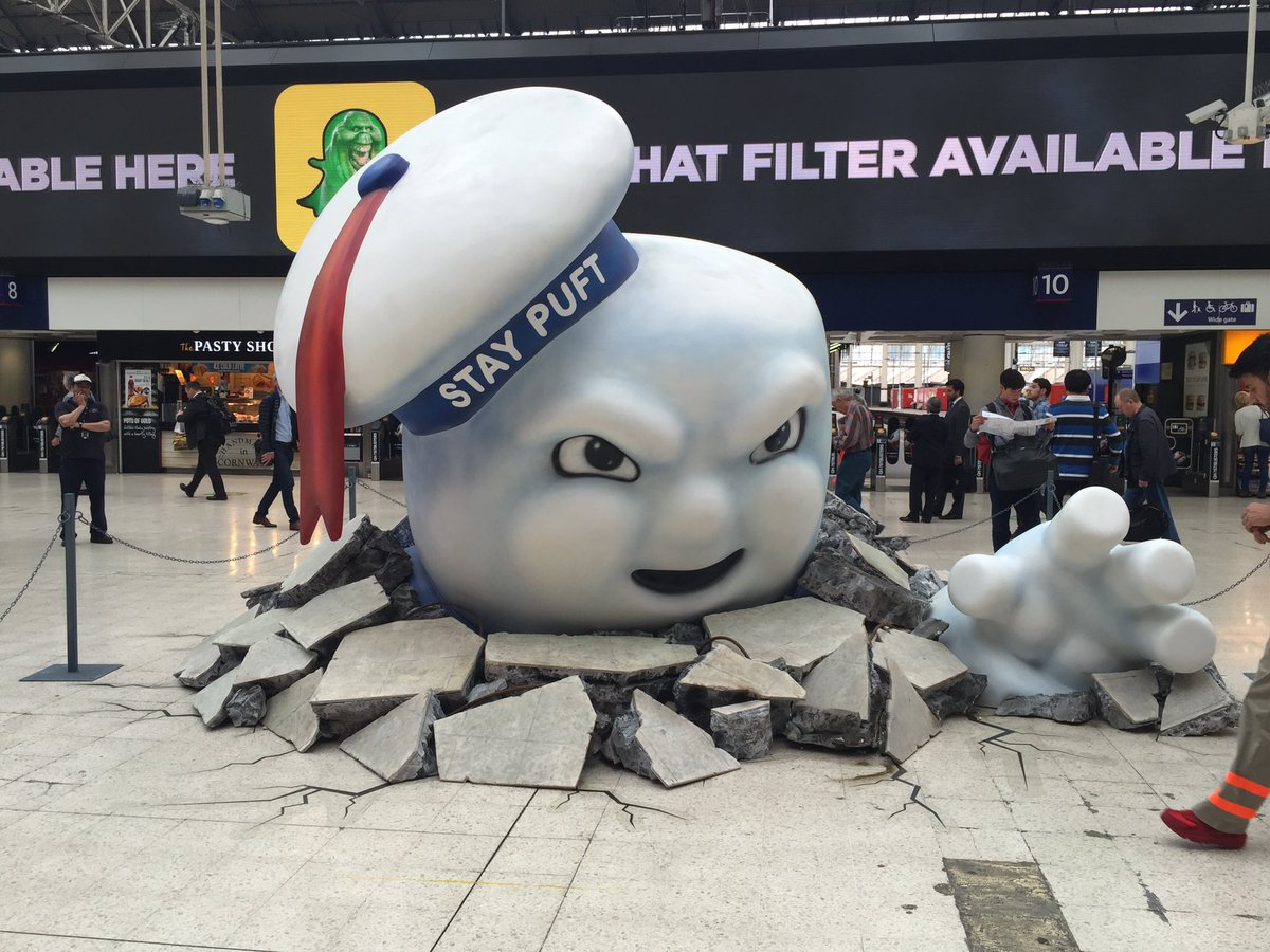 Giant Stay Puft Marshmallow Man spotted at Waterloo Station in Ghostbusters PR stunt