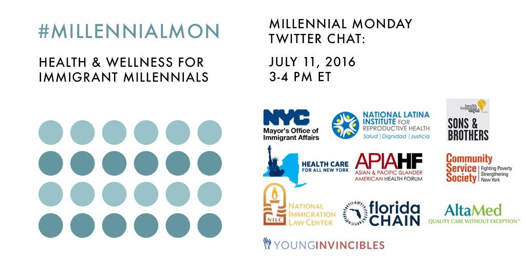 Join us TODAY @ 3pm ET for a #MillennialMon on young adult immigrants and health! https://t.co/kfHuilGzkA