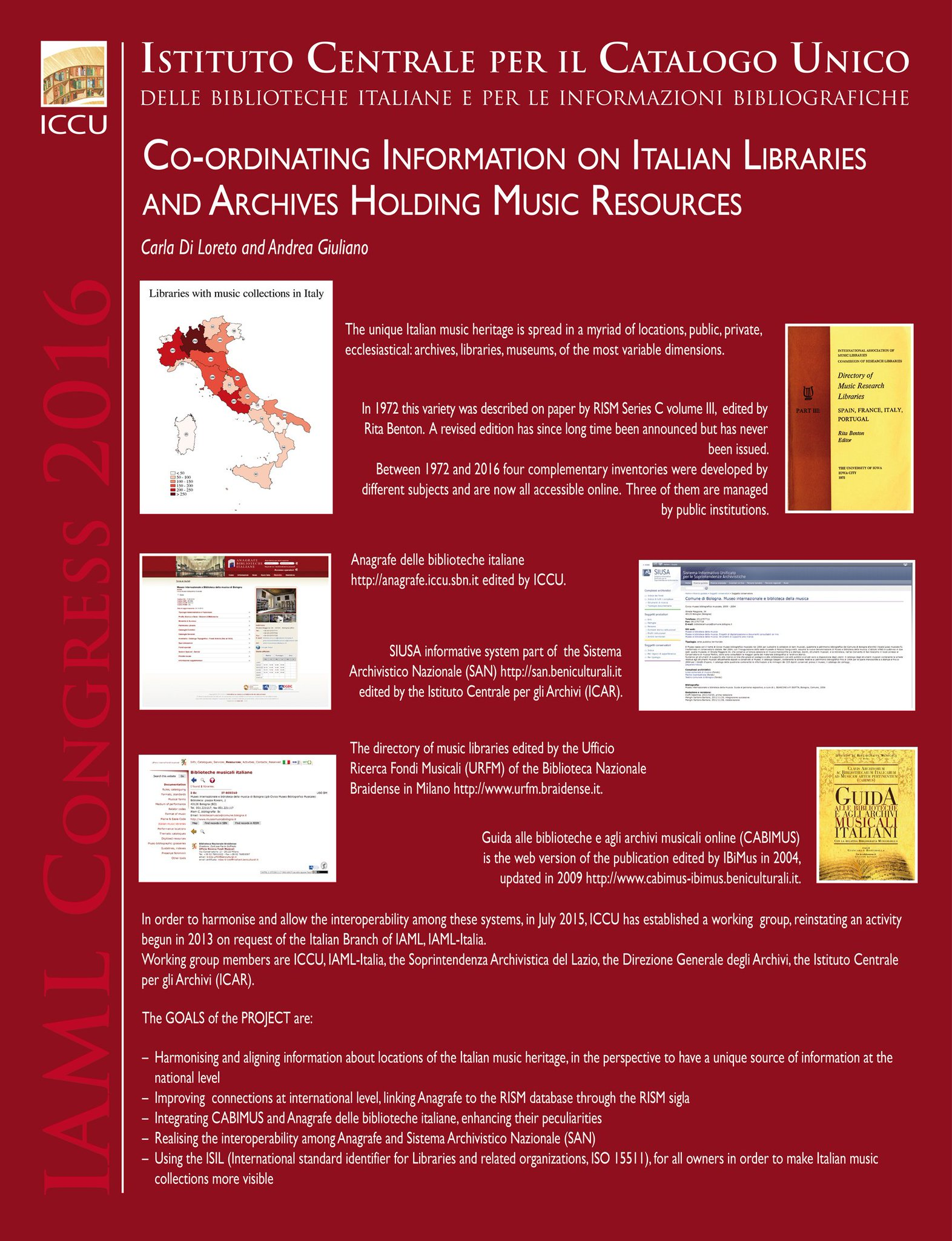 """Coordinating Information on Italian Libraries and Archives Holding Music Resources"", il poster ICCU per #IAML2016 https://t.co/ZySfp2x81A"