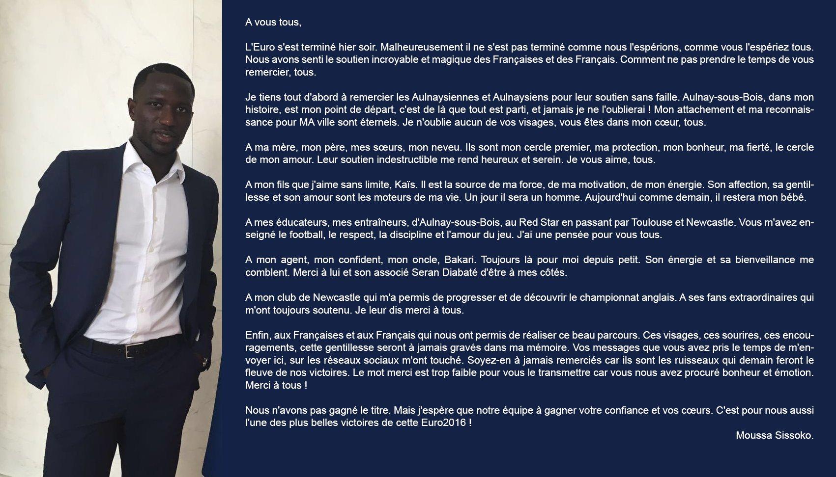 L'émouvante lettre de Moussa Sissoko - Buzz