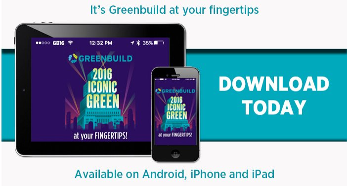 Want everything awesome about #Greenbuild16 at your fingertips? Download the app today! https://t.co/5BF5ATCB4g https://t.co/gPfa3km3Nw