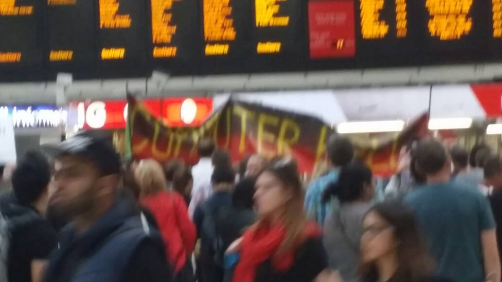 The #southern commuter demo at Victoria still going at 1830 #southernRail #southernFail https://t.co/N9ak7VJAmG