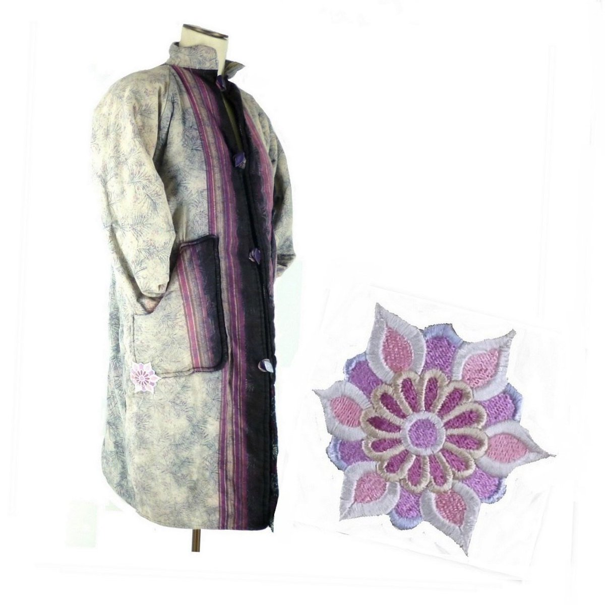 Ombre Bohemian Quilt Jacket, Feather Print with Custom Applique http://etsy.me/1WB0Yli #Etsy #DrapedBlouse pic.twitter.com/FAXesh9uX9