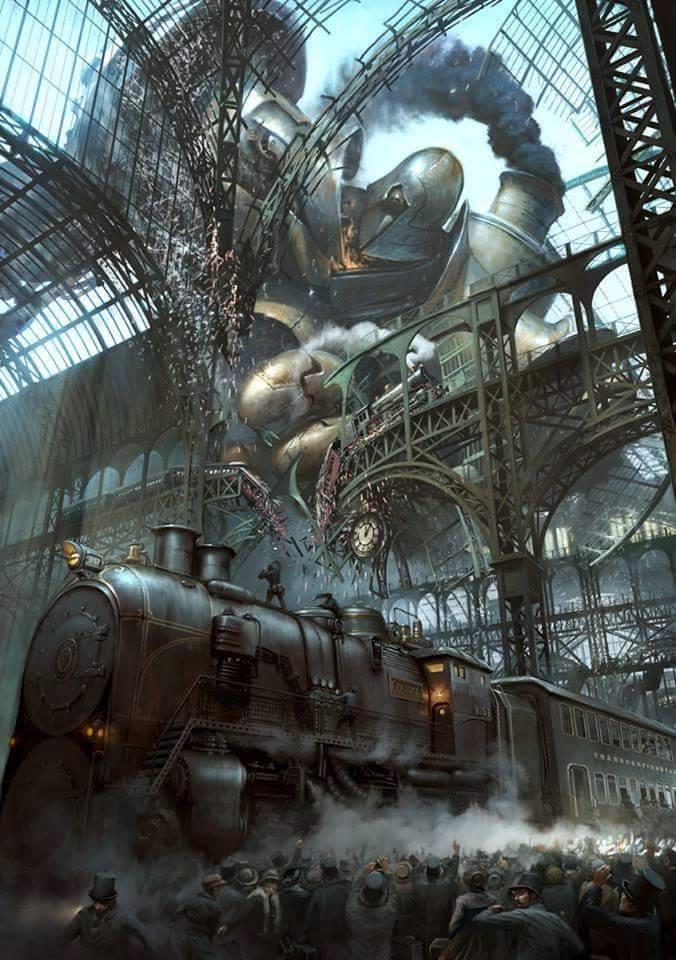 #Illustration Awesome of the Day: Giant #Steampunk #Robot in Steam #Train Station #Artwork @Riddick_Rocket #SamaArt