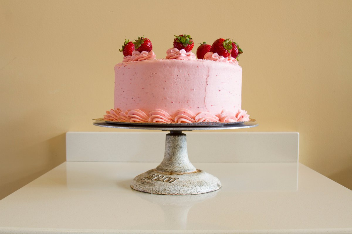 Strawberry cake is our featured cake of the month...