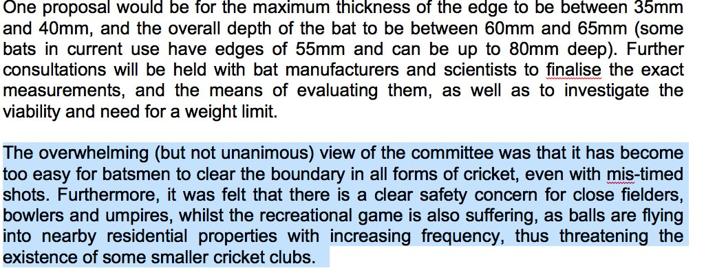 MCC World Cricket Committee get bat edges reduced to 35mm and bat depth to 60mm. Will happen by Oct 2017. Excellent. https://t.co/QzFRinl2yn