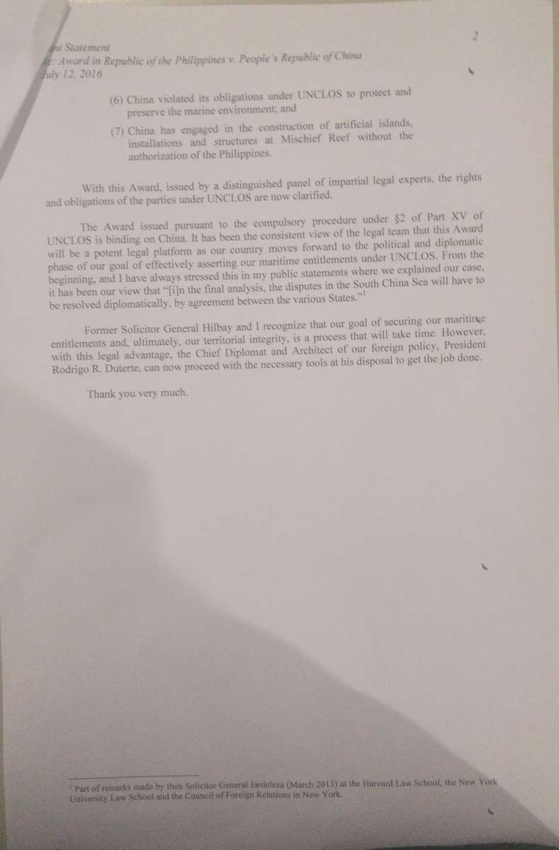 PHOTO: Jardeleza & Hilbay joint statement on arbitration ruling. | via @CecilVillarosa