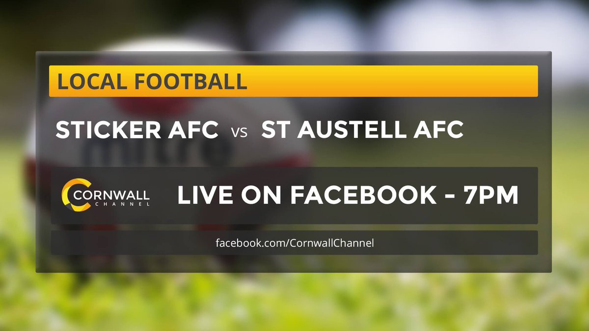 @cornwallchannel TV LIVE tonight with @StickerAFC vs @AFCSTAUSTELL https://t.co/ftAcUyvW5D thanks @FirstForFloors https://t.co/ozdXTY1Nxz
