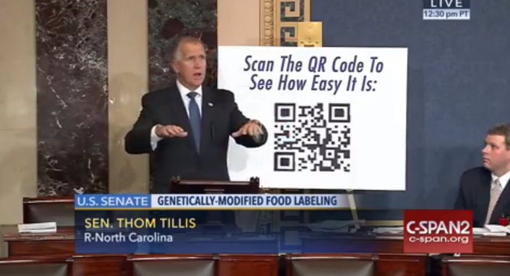 .@SenThomTillis explains how consumers will easily access product information with #SmartLabel #QrCodes #GMOs https://t.co/0GRwE6kNzS