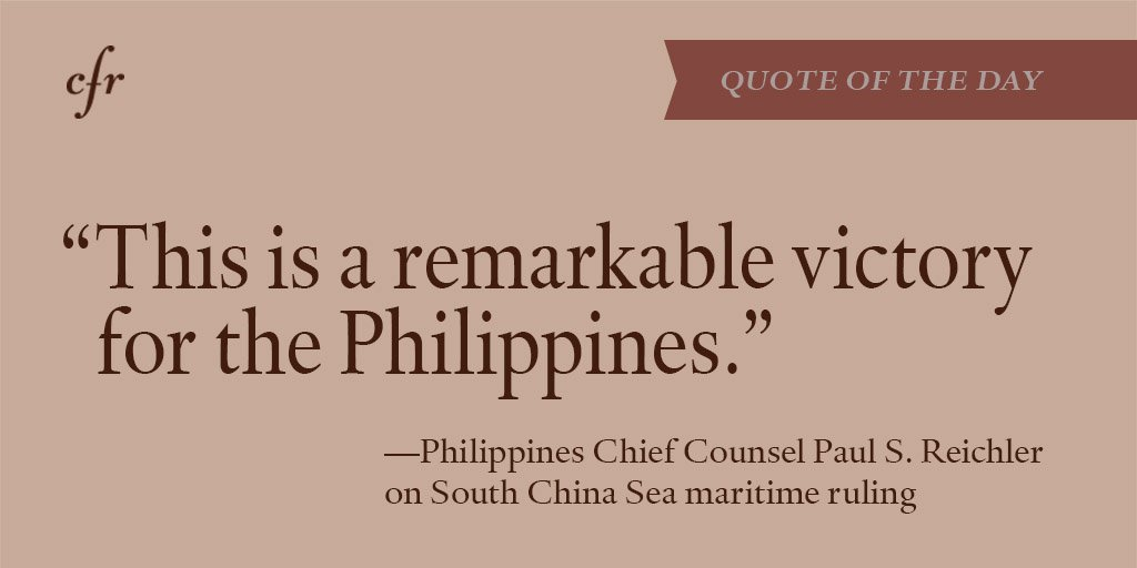 #Quote of the Day from Philippines Chief Counsel Paul S. Reichler on South China Sea maritime ruling: https://t.co/ZllAkbRmRL