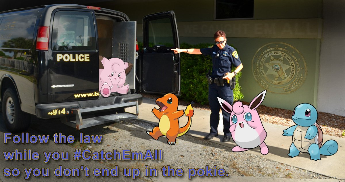 It's all fun and games until someone ends up in the pokie! #dontpokeanddrive #keepyourheadup #PokemonGO @Pokemon https://t.co/pesFrHouAM