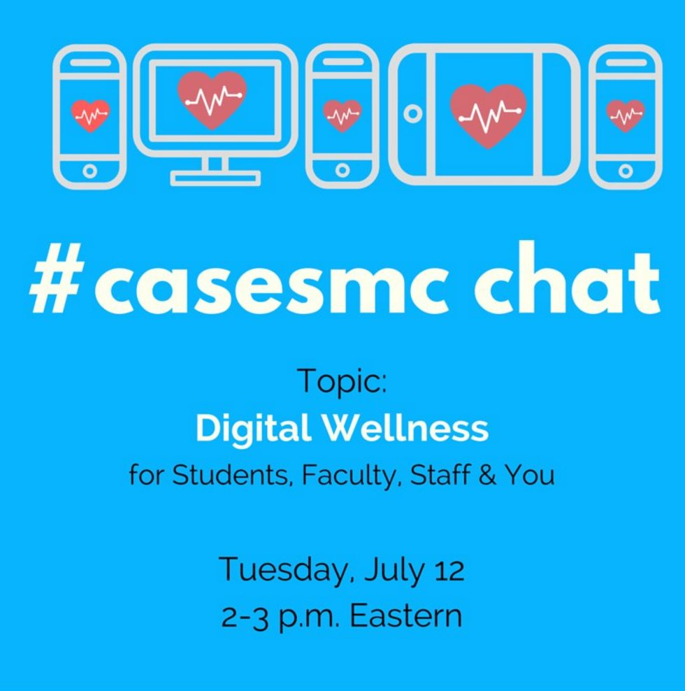 SO excited 2 moderate #casesmc chat today on Digital Wellness. Join me in 30 minutes 2pm EST #satech #edtech #digcit https://t.co/hVtO2cU6Jk