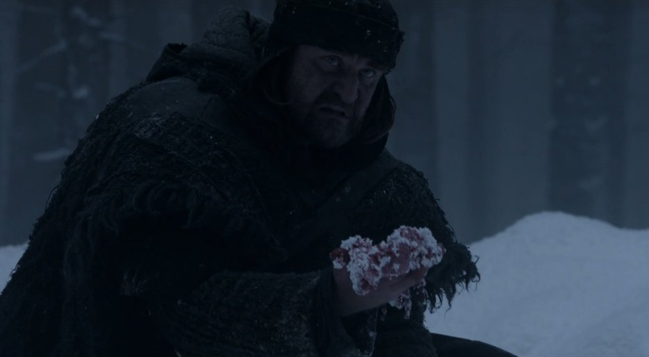The Rangers return to the site of the Wildlings slaughter to find no bodies, only an internal organ in the snow. https://t.co/jwYPoxjcoG