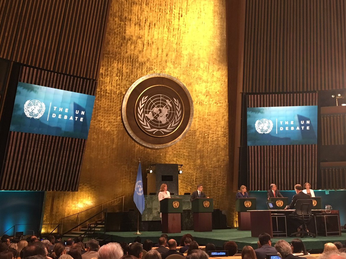 First round of #AJUNDebate with #UNSGcandidates finished. Interesting exchanges on current world / UN affairs. https://t.co/mc4BvJ12Ju