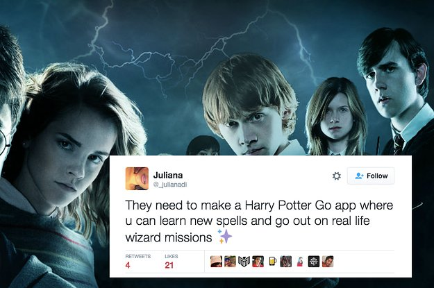"""Honestly, a """"Harry Potter"""" version of Pokémon Go would be incredible http://bzfd.it/29USUuK"""