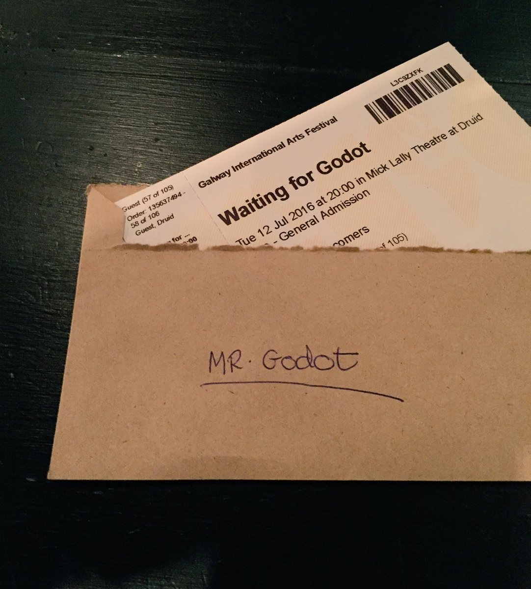 Mr. Godot was a no show at the box office again tonight. #rude #waitingforgodot https://t.co/RA5xSWUv6P