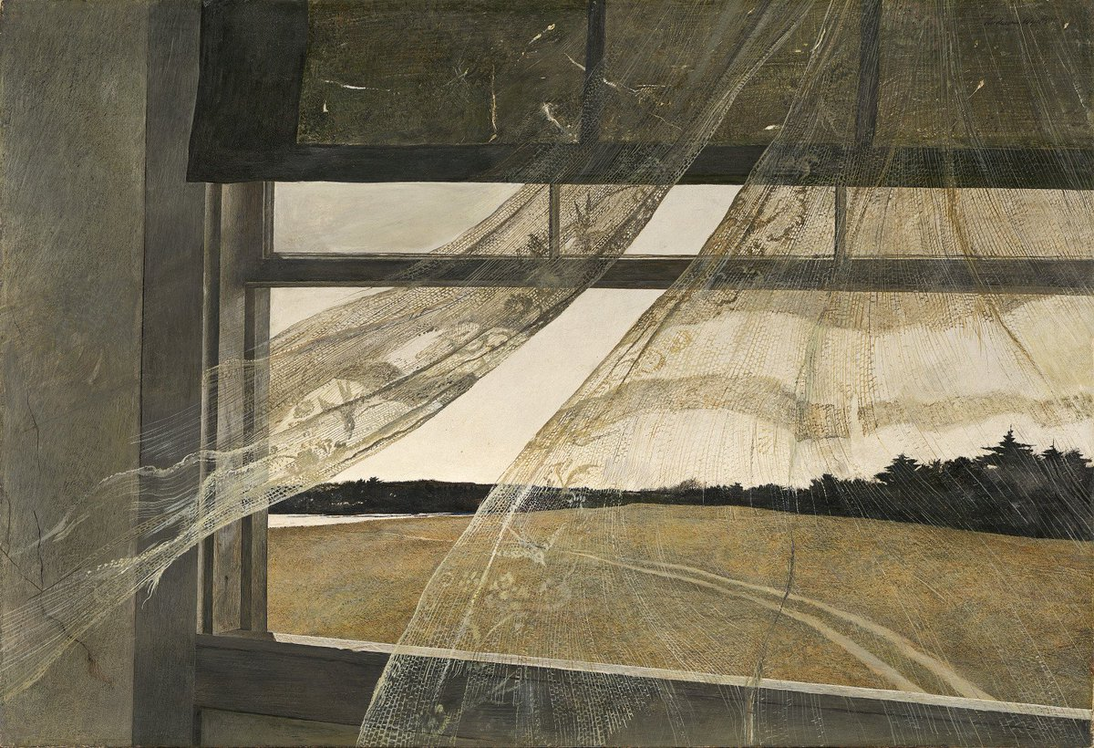 "Andrew Wyeth was born #onthisday in 1917. ""Wind from the Sea"" (1947) captures a moment on a hot summer day. https://t.co/6Fx5JVsqvW"