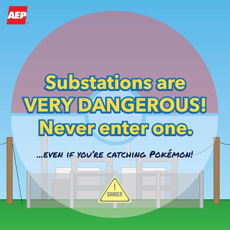 Even when hunting for Pokémon, never go near or in an electrical substation & stay away from electricity #PokemonGo https://t.co/pQxJI8BUAb