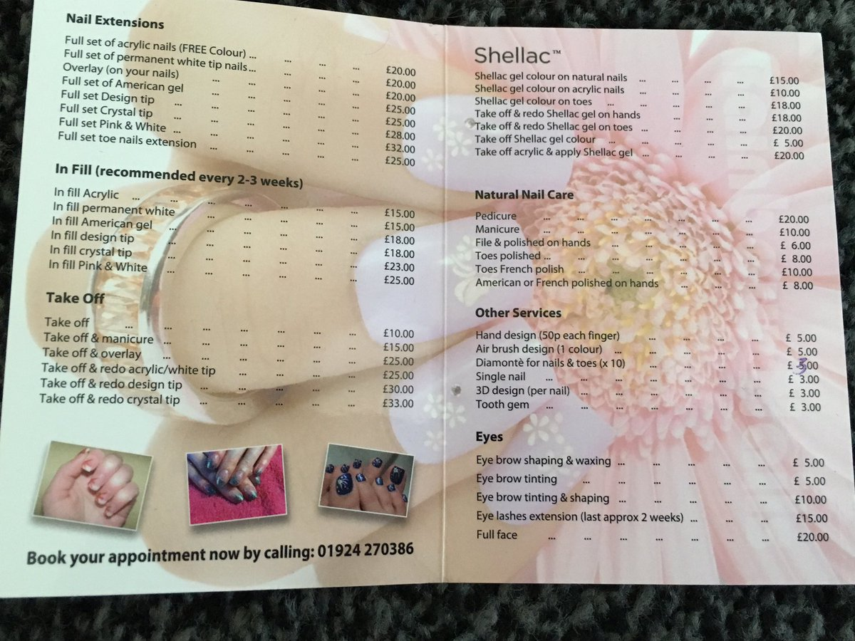 Rainbow Nails Ossett On Twitter This Is Our Price List And Phone Number Below 01924270386 Loveossett
