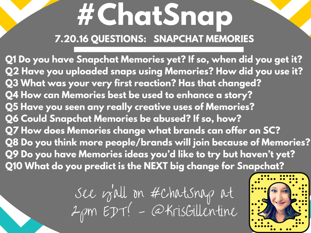 QUESTION PREVIEW for today's #ChatSnap. See you at 2pm EDT! (6pGMT) #snapchatmemories https://t.co/Y58Z2fTY0Y