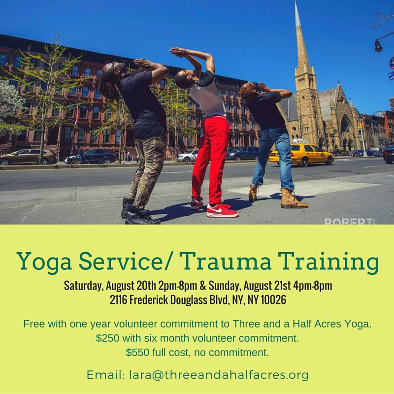 We are so excited to announce our upcoming Yoga Service and Trauma Training!  Details below.